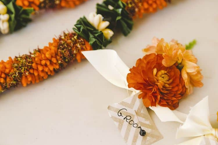 tropical wedding boutonniere