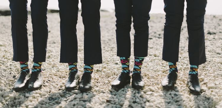 tropical wedding groom socks