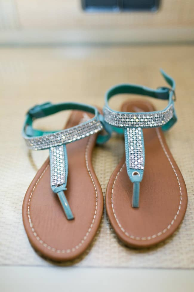 turquoise beach wedding sandals