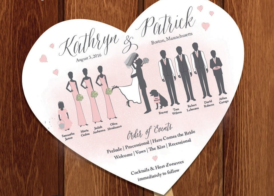 wedding program bridal party illustration