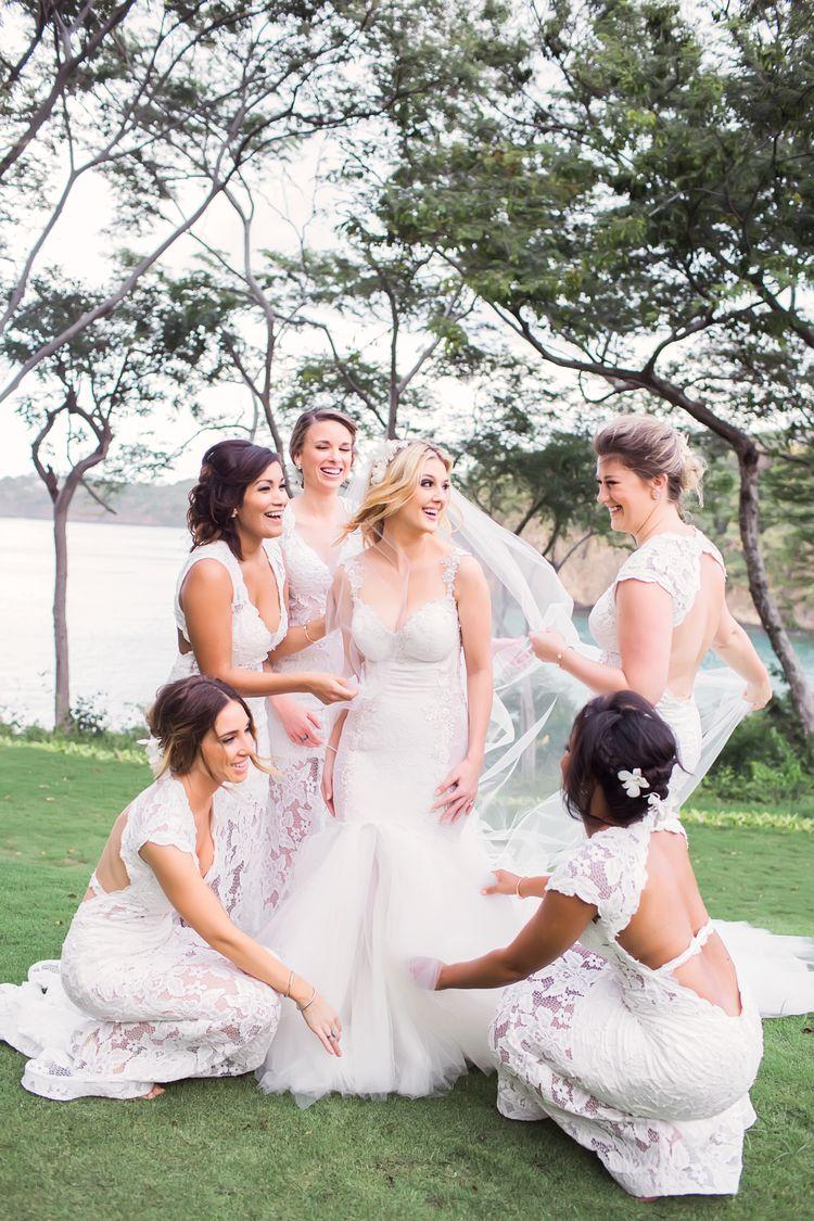 white beach bridesmaid dresses